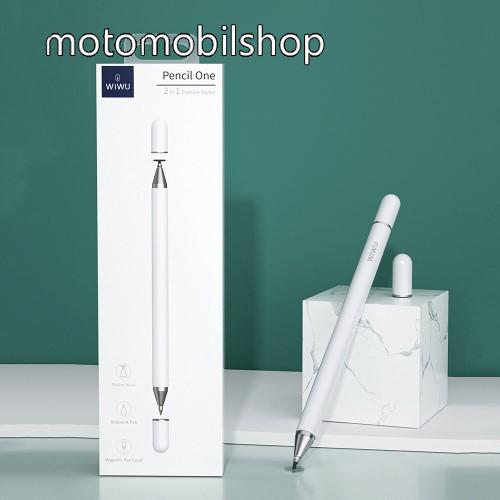 WIWU érintőképernyő ceruza / golyós toll - kapacitív kijelzőhöz, KÉZÍRÁSRA, RAJZOLÁSRA ALKALMAS - FEHÉR