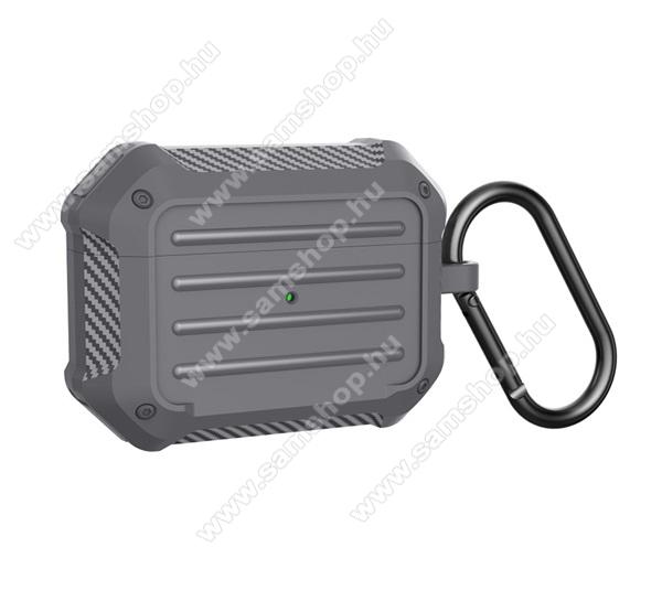 WIWU szilikon védő tok Apple AirPods Pro-hoz - karabiner, töltőnyílás, ERŐS VÉDELEM! - SZÜRKE - APC006_PRO_G - GYÁRI