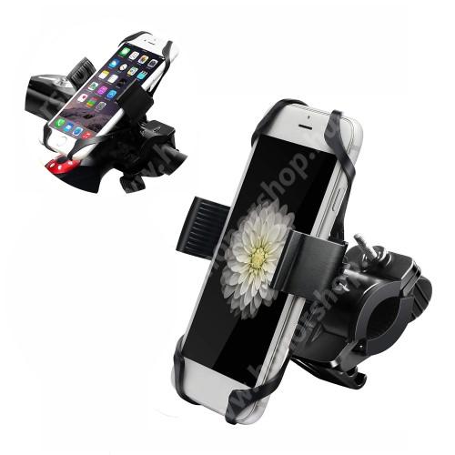 """HUAWEI Honor 9 X-TREME telefon tartó kerékpár / bicikli - FEKETE - UNIVERZÁLIS - elforgatható - 4,7-6,5""""-os méretig használható bölcsővel"""