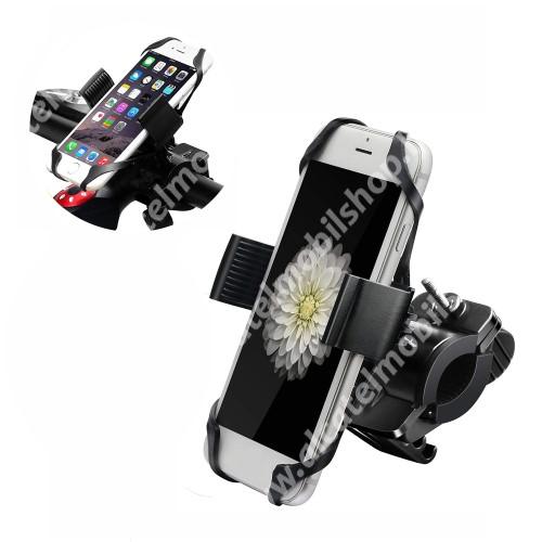 """ALCATEL 1S (2019) X-TREME telefon tartó kerékpár / bicikli - FEKETE - UNIVERZÁLIS - elforgatható - 4,7-6,5""""-os méretig használható bölcsővel"""