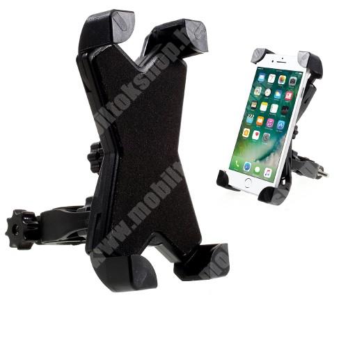SAMSUNG SGH-D730 X-TREME telefon tartó kerékpár / bicikli - FEKETE - UNIVERZÁLIS - elforgatható - 100-160 mm-ig nyíló bölcsővel