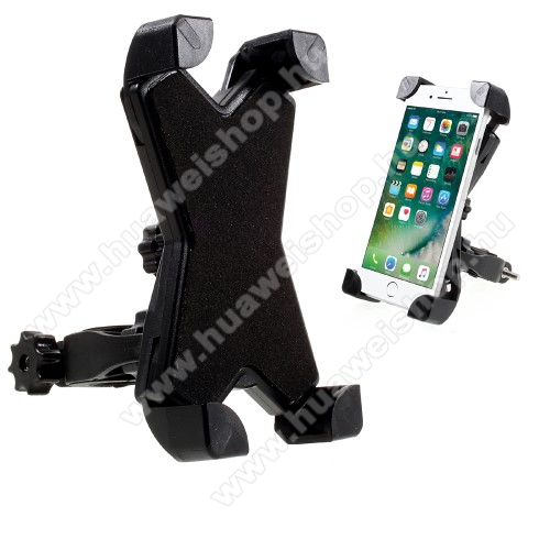 HUAWEI Honor V8X-TREME telefon tartó kerékpár / bicikli - FEKETE - UNIVERZÁLIS - elforgatható - 100-160 mm-ig nyíló bölcsővel
