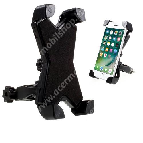 ACER Liquid Z3 X-TREME telefon tartó kerékpár / bicikli - FEKETE - UNIVERZÁLIS - elforgatható - 100-160 mm-ig nyíló bölcsővel