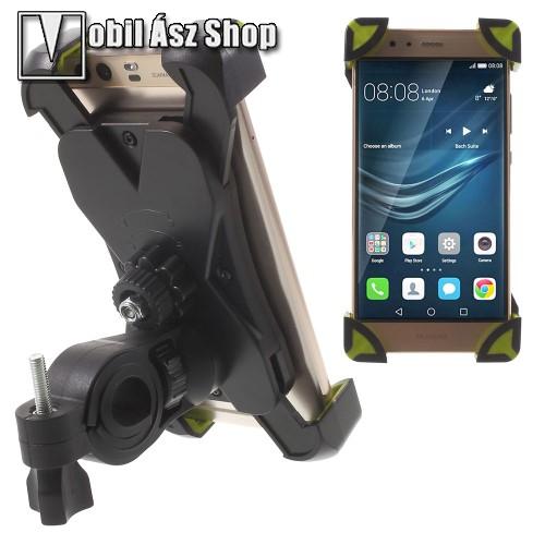 HUAWEI P9X-TREME telefon tartó kerékpár / bicikli - FEKETE / ZÖLD - UNIVERZÁLIS - elforgatható - 180-92 mm-ig nyíló bölcsővel