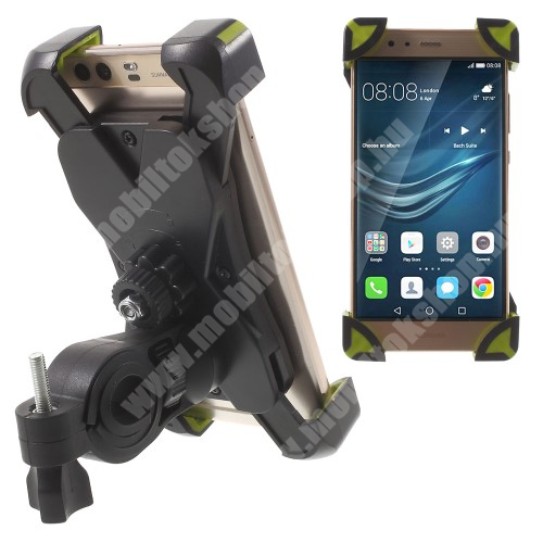 HTC HD 2 X-TREME telefon tartó kerékpár / bicikli - FEKETE / ZÖLD - UNIVERZÁLIS - elforgatható - 180-92 mm-ig nyíló bölcsővel