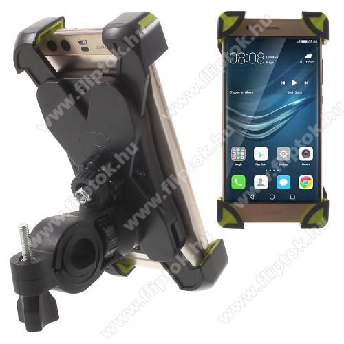Huawei Enjoy 10X-TREME telefon tartó kerékpár / bicikli - FEKETE / ZÖLD - UNIVERZÁLIS - elforgatható - 180-92 mm-ig nyíló bölcsővel