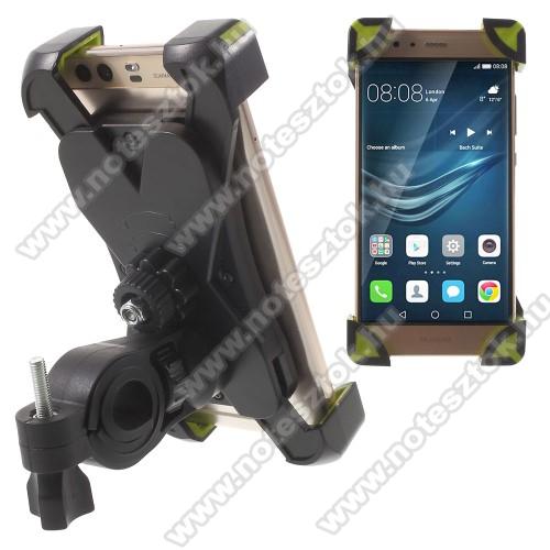 NOKIA 7.1X-TREME telefon tartó kerékpár / bicikli - FEKETE / ZÖLD - UNIVERZÁLIS - elforgatható - 180-92 mm-ig nyíló bölcsővel