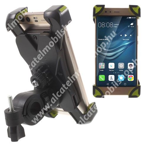 ALCATEL A3 XL X-TREME telefon tartó kerékpár / bicikli - FEKETE / ZÖLD - UNIVERZÁLIS - elforgatható - 180-92 mm-ig nyíló bölcsővel