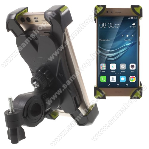 SAMSUNG Galaxy A30s (SM-A307F/FN/DS/G/GN/GT)X-TREME telefon tartó kerékpár / bicikli - FEKETE / ZÖLD - UNIVERZÁLIS - elforgatható - 180-92 mm-ig nyíló bölcsővel