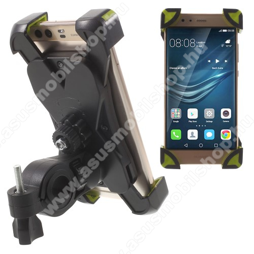 ASUS Zenfone Live (ZB501KL)X-TREME telefon tartó kerékpár / bicikli - FEKETE / ZÖLD - UNIVERZÁLIS - elforgatható - 180-92 mm-ig nyíló bölcsővel
