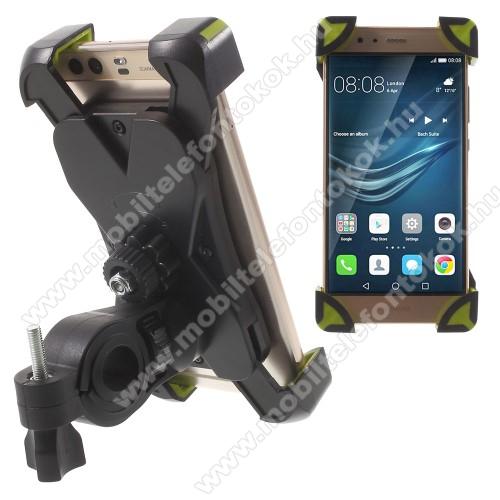 Google Pixel 3X-TREME telefon tartó kerékpár / bicikli - FEKETE / ZÖLD - UNIVERZÁLIS - elforgatható - 180-92 mm-ig nyíló bölcsővel