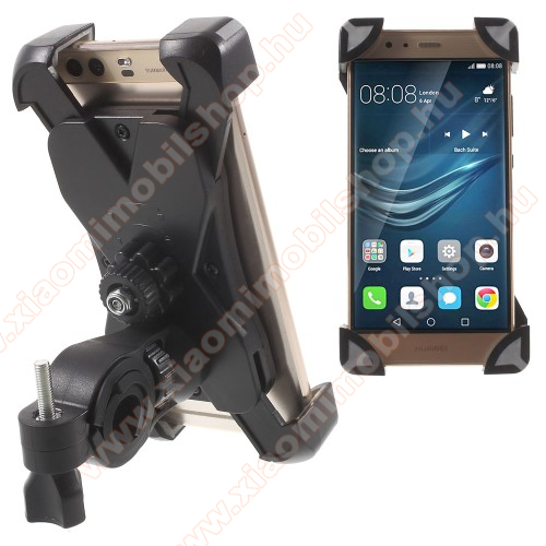 Xiaomi Mi 9X-TREME telefon tartó kerékpár / bicikli - FEKETE / SZÜRKE - UNIVERZÁLIS - elforgatható - 180-92 mm-ig nyíló bölcsővel
