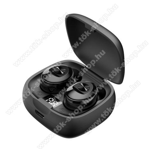 XG8 TWS BLUETOOTH sztereó fülhallgató - V5.0, mikrofon, 16Ω, zajszűrő, 350mAh töltőtokkal, érintéssel vezérelhető, digitális kijelző - FEKETE