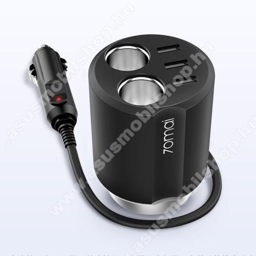 ASUS Transformer Pad TF303CLXIAOMI 70MAI Midrive szivargyújtó töltő / autós töltő elosztó - pohártartóba helyezhető, 3 USB port 5V/2.4A, 2 extra szivargyújtó aljzat, 84 x 84 x 97.5mm - FEKETE - CC03 - GYÁRI