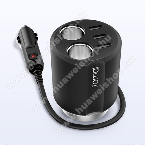 HUAWEI T-Mobile Vairy Text II.XIAOMI 70MAI Midrive szivargyújtó töltő / autós töltő elosztó - pohártartóba helyezhető, 3 USB port 5V/2.4A, 2 extra szivargyújtó aljzat, 84 x 84 x 97.5mm - FEKETE - CC03 - GYÁRI