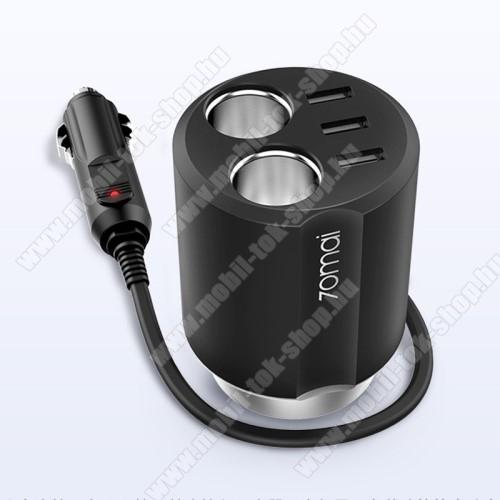 XIAOMI 70MAI Midrive szivargyújtó töltő / autós töltő elosztó - pohártartóba helyezhető, 3 USB port 5V/2.4A, 2 extra szivargyújtó aljzat, 84 x 84 x 97.5mm - FEKETE - CC03 - GYÁRI