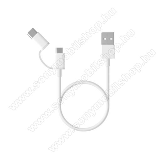 SONY Xperia 10 Plus (2019)Xiaomi Micro USB 2.0 adatátvieli kábel / töltő kábel - Type-C átalakítóval - 1m, 2.4A - FEHÉR - GYÁRI