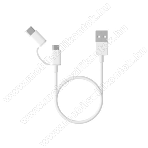 Xiaomi Micro USB 2.0 adatátvieli kábel / töltő kábel - Type-C átalakítóval - 1m, 2.4A - FEHÉR - GYÁRI