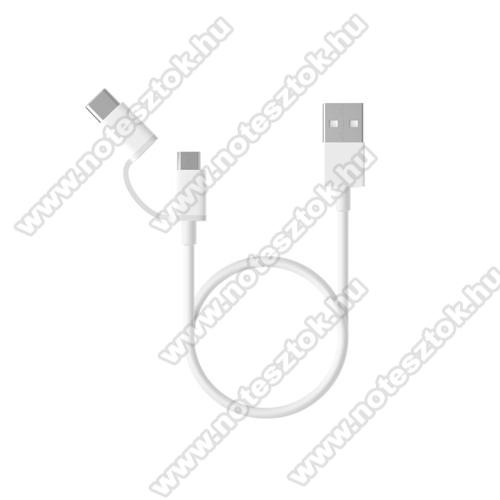 OPPO R17Xiaomi Micro USB 2.0 adatátvieli kábel / töltő kábel - Type-C átalakítóval - 1m, 2.4A - FEHÉR - GYÁRI