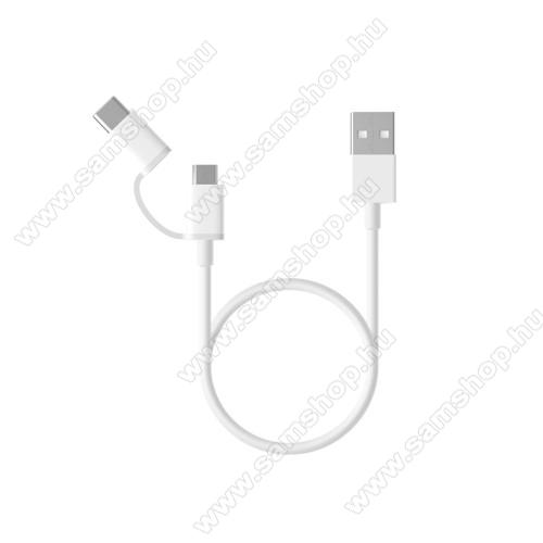 SAMSUNG SM-A260F Galaxy A2 CoreXiaomi Micro USB 2.0 adatátvieli kábel / töltő kábel - Type-C átalakítóval - 1m, 2.4A - FEHÉR - GYÁRI