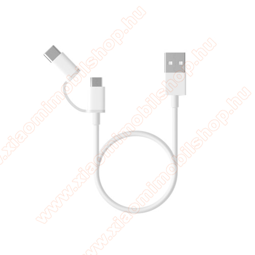 Xiaomi Mi 9Xiaomi Micro USB 2.0 adatátvieli kábel / töltő kábel - Type-C átalakítóval - 1m, 2.4A - FEHÉR - GYÁRI