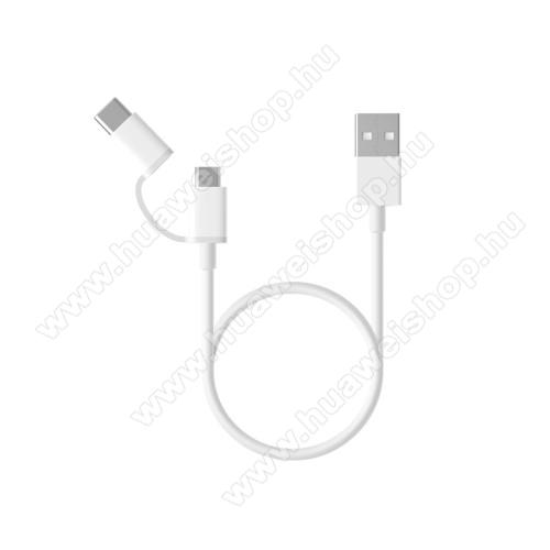 HUAWEI Y MaxXiaomi Micro USB 2.0 adatátvieli kábel / töltő kábel - Type-C átalakítóval - 1m, 2.4A - FEHÉR - GYÁRI