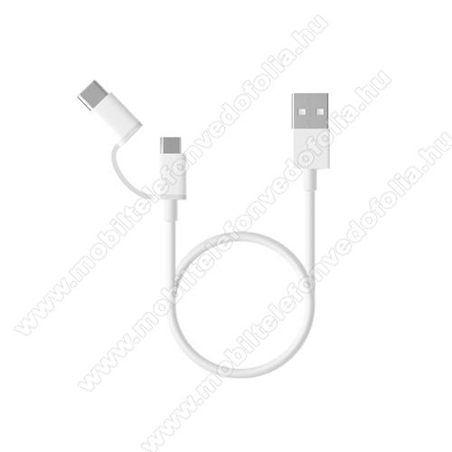 OPPO F7 YouthXiaomi Micro USB 2.0 adatátvieli kábel / töltő kábel - Type-C átalakítóval - 1m, 2.4A - FEHÉR - GYÁRI