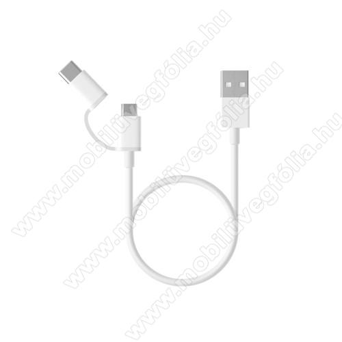 HUAWEI Enjoy 9eXiaomi Micro USB 2.0 adatátvieli kábel / töltő kábel - Type-C átalakítóval - 1m, 2.4A - FEHÉR - GYÁRI