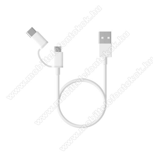 SAMSUNG SM-A905F Galaxy A90Xiaomi Micro USB 2.0 adatátvieli kábel / töltő kábel - Type-C átalakítóval - 1m, 2.4A - FEHÉR - GYÁRI