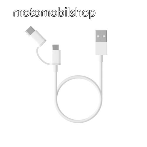 MOTOROLA V1100 Xiaomi Micro USB 2.0 adatátvieli kábel / töltő kábel - Type-C átalakítóval - 1m, 2.4A - FEHÉR - GYÁRI