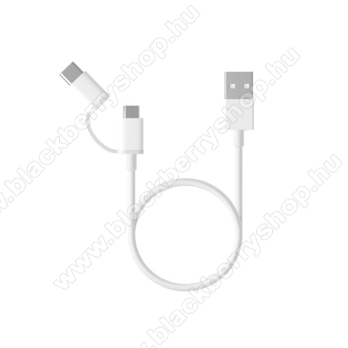 BLACKBERRY 9650 BoldXiaomi Micro USB 2.0 adatátvieli kábel / töltő kábel - Type-C átalakítóval - 1m, 2.4A - FEHÉR - GYÁRI