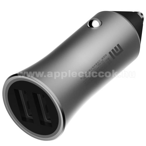 Xiaomi szivargyújtós töltő / autós töltő - 2db USB aljzat, LED, 18W, 1 port: 5V/2.4A; 9V/2A; 12V/1.5A, 2 port egyszerre: 5V/2.4A, 15W(max!) - EZÜST - CC05ZM - GYÁRI