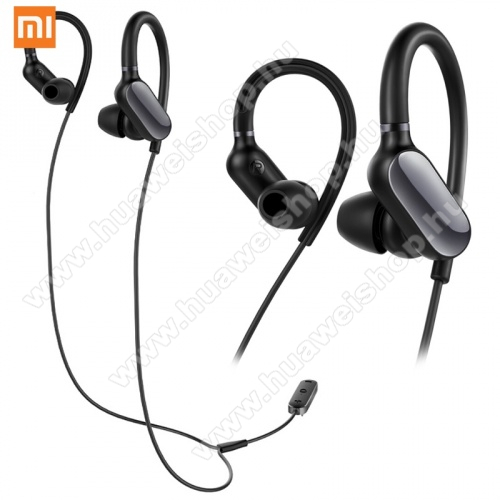 HUAWEI Honor 20 lite (For China Market) Xiaomi sztereo sport bluetooth headset - v.4.1, felvevő és hangerő szabályzó gombok, nyakba akasztható, mikrofon, IPX4 cseppállóság - FEKETE - ZBW4378GL - GYÁRI