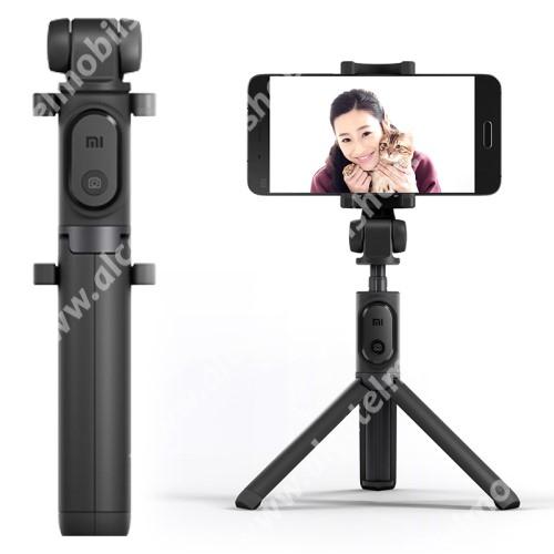 ALCATEL A3 XL XIAOMI tripod állvány és Selfie bot - Beépített Bluetooth kioldóval, 360 fokban forgatható bölcső, 56-89mm-ig állítható - FEKETE