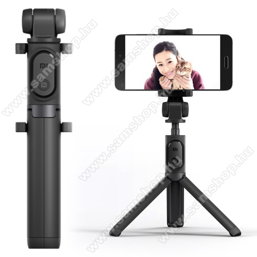 SAMSUNG GT-I9506 Galaxy S IV.XIAOMI tripod állvány és Selfie bot - Beépített Bluetooth kioldóval, 360 fokban forgatható bölcső, 56-89mm-ig állítható - FEKETE