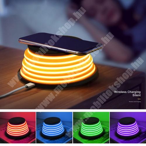 PRESTIGIO MultiPhone 5300 Duo XOOMZ QI Wireless hálózati töltő állomás vezeték nélküli töltéshez - FEKETE - fogadóegység NÉLKÜL!, kimenet 5V/1A 9V/1.2A, 5 színű éjszakai fény
