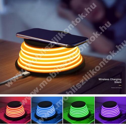 XOOMZ QI Wireless hálózati töltő állomás vezeték nélküli töltéshez - FEKETE - fogadóegység NÉLKÜL!, kimenet 5V/1A 9V/1.2A, 5 színű éjszakai fény