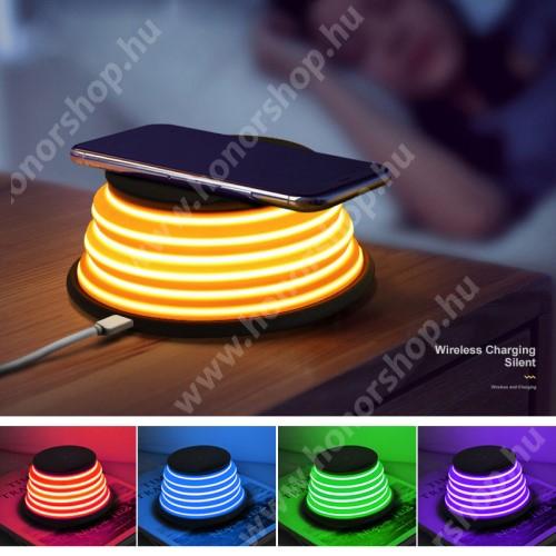 HUAWEI Honor 3C Play XOOMZ QI Wireless hálózati töltő állomás vezeték nélküli töltéshez - FEKETE - fogadóegység NÉLKÜL!, kimenet 5V/1A 9V/1.2A, 5 színű éjszakai fény