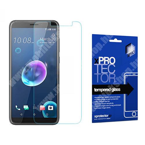 Xpro előlap védő karcálló edzett üveg - 0,33 mm vékony, 9H, Arc Edge, A képernyő sík részét védi - HTC Desire 12 - GYÁRI