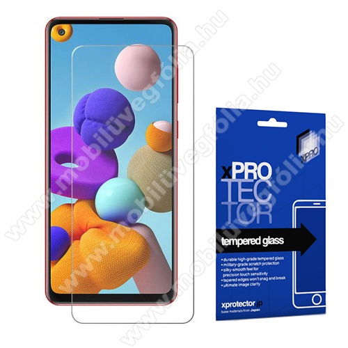 Xpro előlap védő karcálló edzett üveg - 0,33 mm vékony, 9H, Arc Edge, A képernyő sík részét védi - SAMSUNG SM-A217F Galaxy A21s / SAMSUNG Galaxy A21 (SM-A210F) - GYÁRI