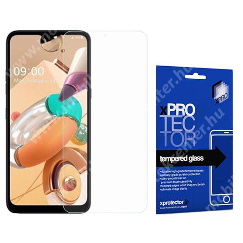 Xpro előlap védő karcálló edzett üveg - 0,33 mm vékony, 9H, Arc Edge, A képernyő sík részét védi - LG K41S - GYÁRI