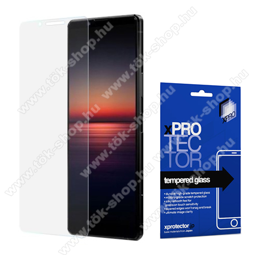 Xpro előlap védő karcálló edzett üveg - 0,33 mm vékony, 9H, Arc Edge, A képernyő sík részét védi - SONY Xperia 1 II - GYÁRI