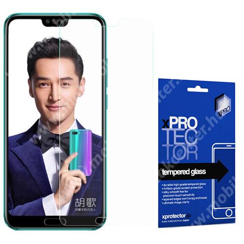 Xpro előlap védő karcálló edzett üveg - 0,33 mm vékony, 9H, Arc Edge, A képernyő sík részét védi - HUAWEI Honor 10 - GYÁRI