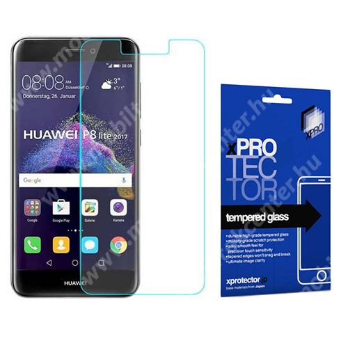Xpro előlap védő karcálló edzett üveg - 0,33 mm vékony, 9H, Arc Edge, A képernyő sík részét védi - HUAWEI P8 Lite (2017) / HUAWEI P9 Lite (2017) / HUAWEI Honor 8 Lite - GYÁRI