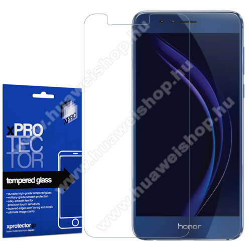 Xpro előlap védő karcálló edzett üveg - 0,33 mm vékony, 9H, Arc Edge, A képernyő sík részét védi - HUAWEI Honor 8 Pro / HUAWEI Honor V9 - GYÁRI