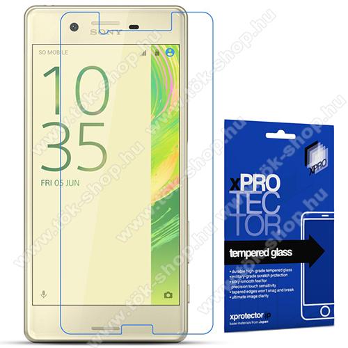 Xpro előlap védő karcálló edzett üveg - 0,33 mm vékony, 9H, Arc Edge, A képernyő sík részét védi -  Sony Xperia X Performance / Sony Xperia X - GYÁRI