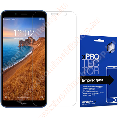 Xpro előlap védő karcálló edzett üveg - 0,33 mm vékony, 9H, Arc Edge, A képernyő sík részét védi - Xiaomi Redmi 7A - GYÁRI