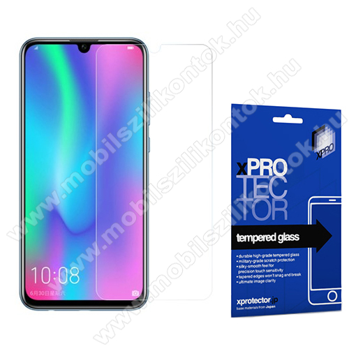 Xpro előlap védő karcálló edzett üveg - 0,33 mm vékony, 9H, Arc Edge, A képernyő sík részét védi - HUAWEI P Smart (2019) / HUAWEI Honor 10 Lite - GYÁRI