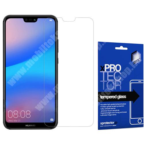 Xpro előlap védő karcálló edzett üveg - 0,33 mm vékony, 9H, Arc Edge, A képernyő sík részét védi - HUAWEI P20 lite (2018) / HUAWEI Nova 3e - GYÁRI
