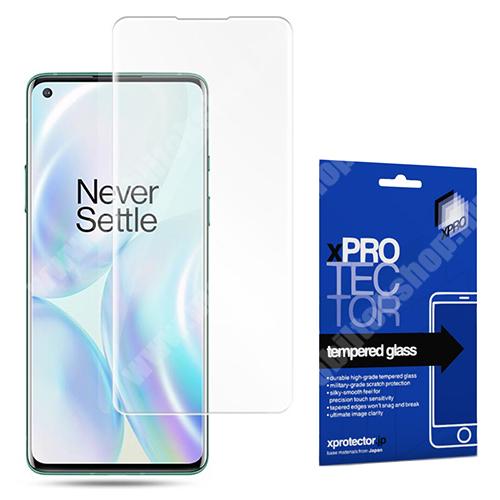 Xpro előlap védő karcálló edzett üveg - 0,33 mm vékony, 9H, Arc Edge, A képernyő sík részét védi - Oneplus 8 - GYÁRI